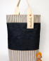Picnic Tote/Deep Tone Indigo Denim/Ticking