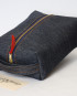 Small Dopp Kit/ Deep Tone Indigo Denim/ Metal Zipper