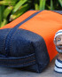 Nautical Orange Duck & Deep Tone Indigo Denim Dopp Kit